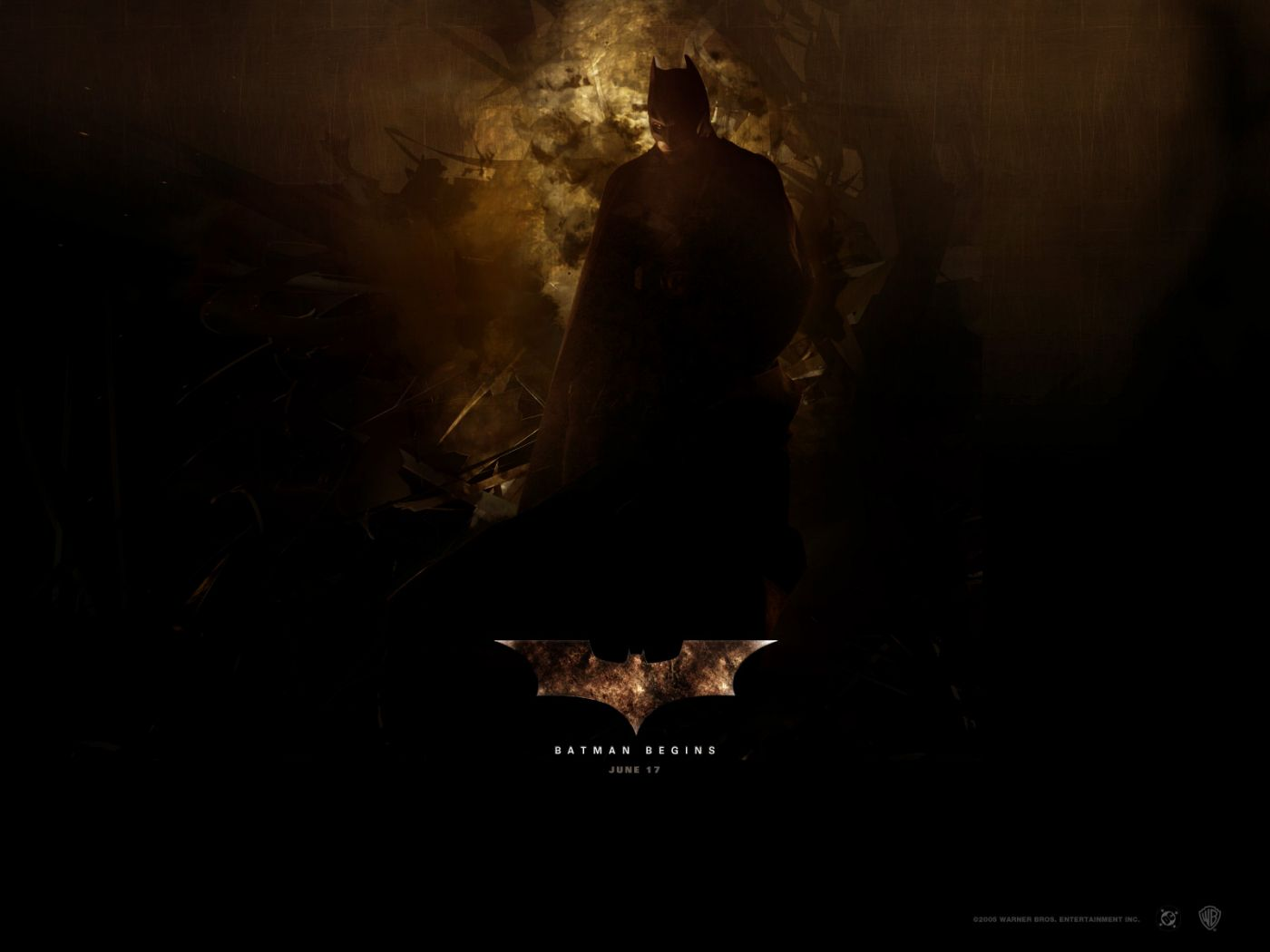 Batman Begins June 17 Poster Wallpaper 1400x1050