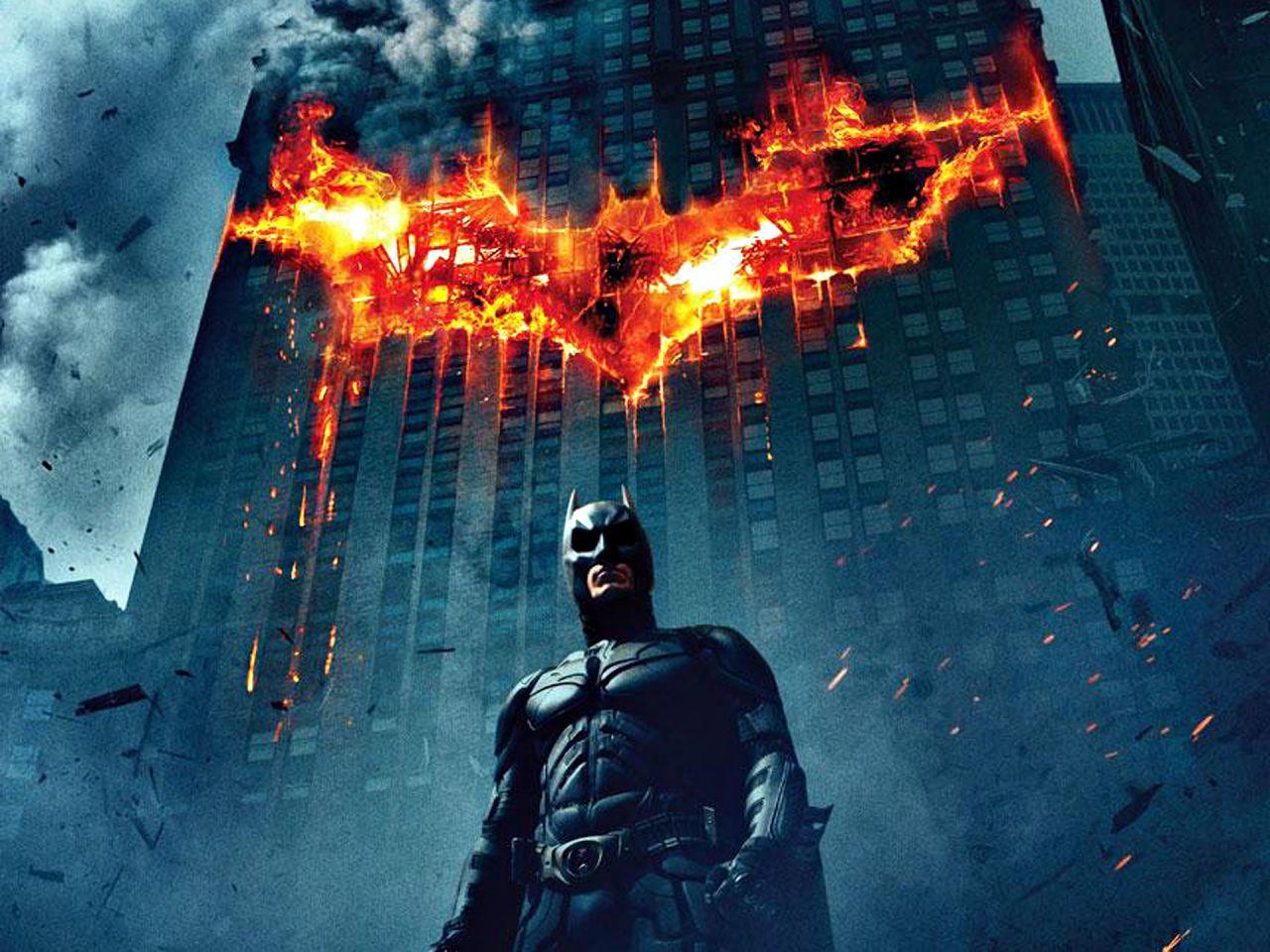 Batman Burning Logo On Building Wallpaper 1280x960