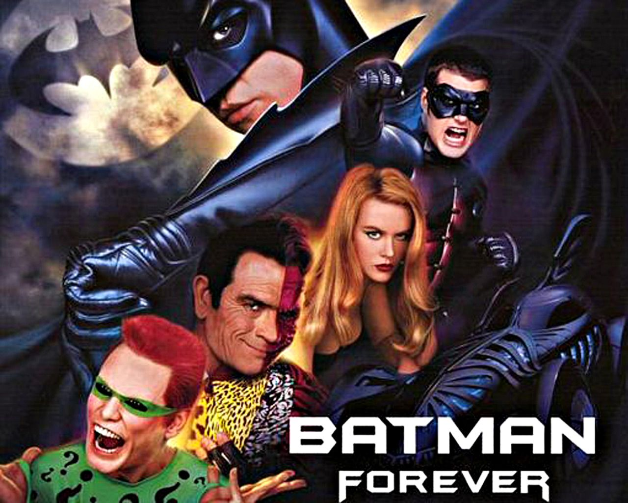 Batman Forever Characters Collage Wallpaper 1280x1024
