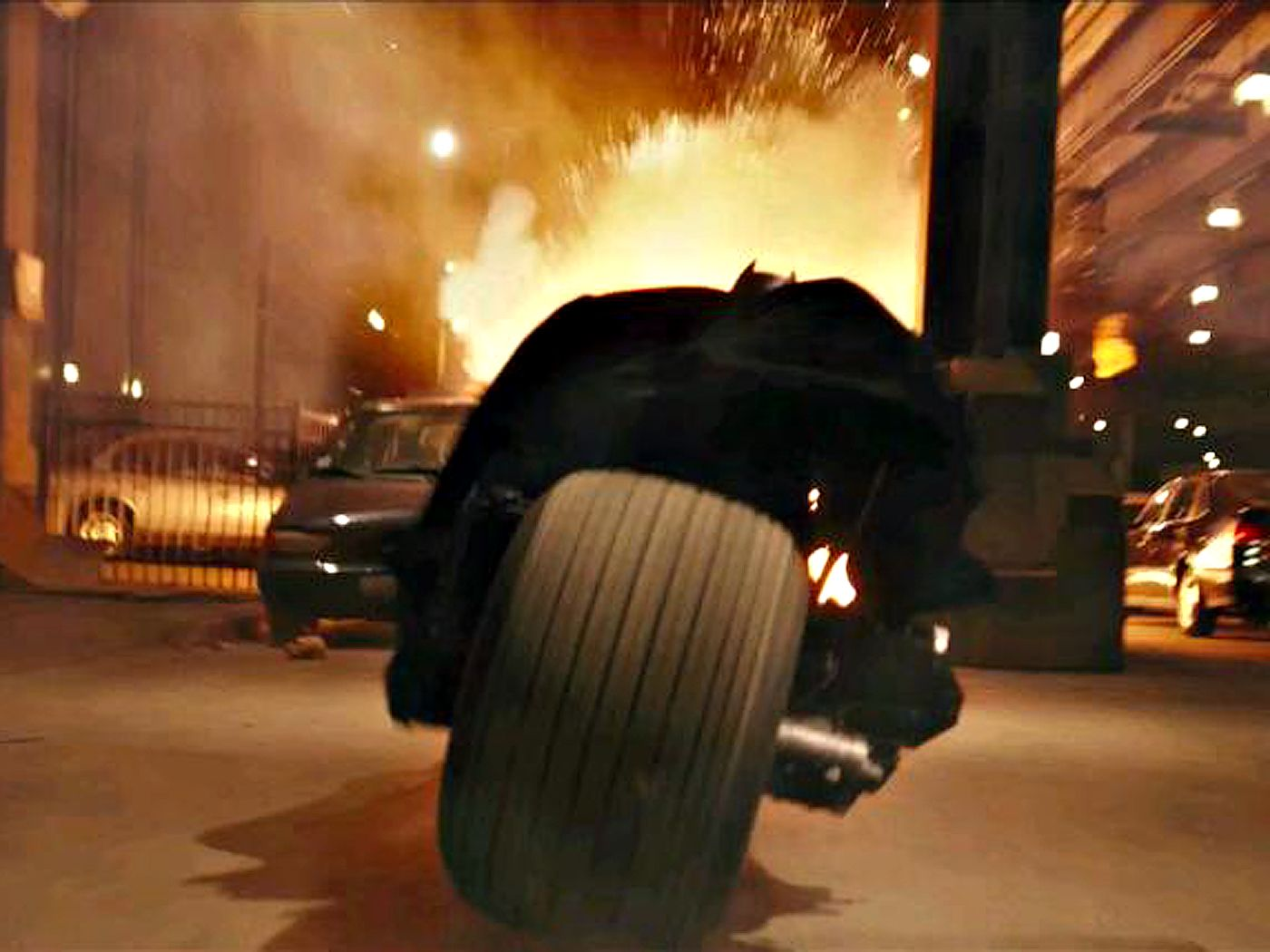Batman On Motorcycle Blasting Cars Wallpaper 1400x1050