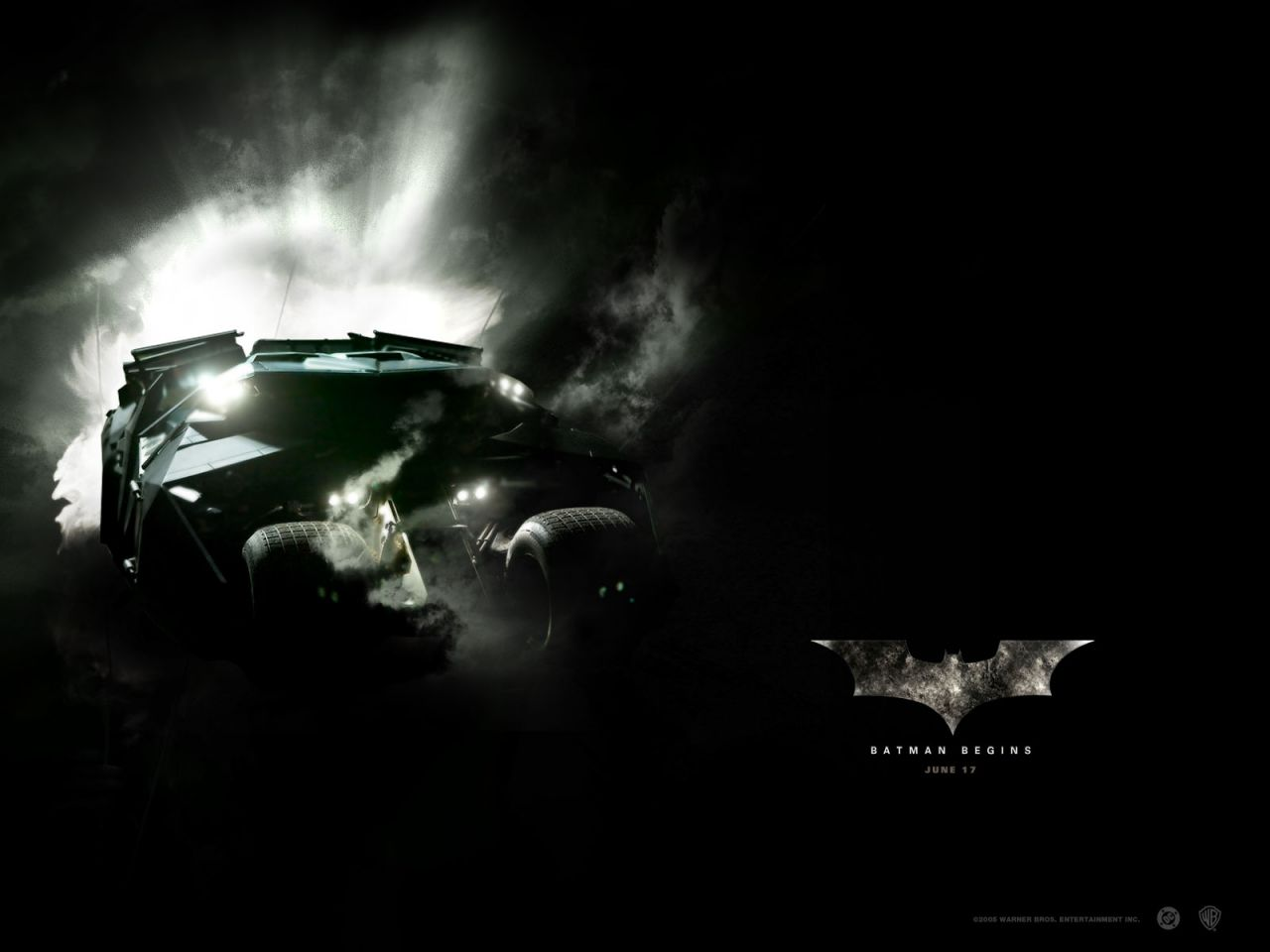 Batmobile Batman Begins Poster Wallpaper 1280x960