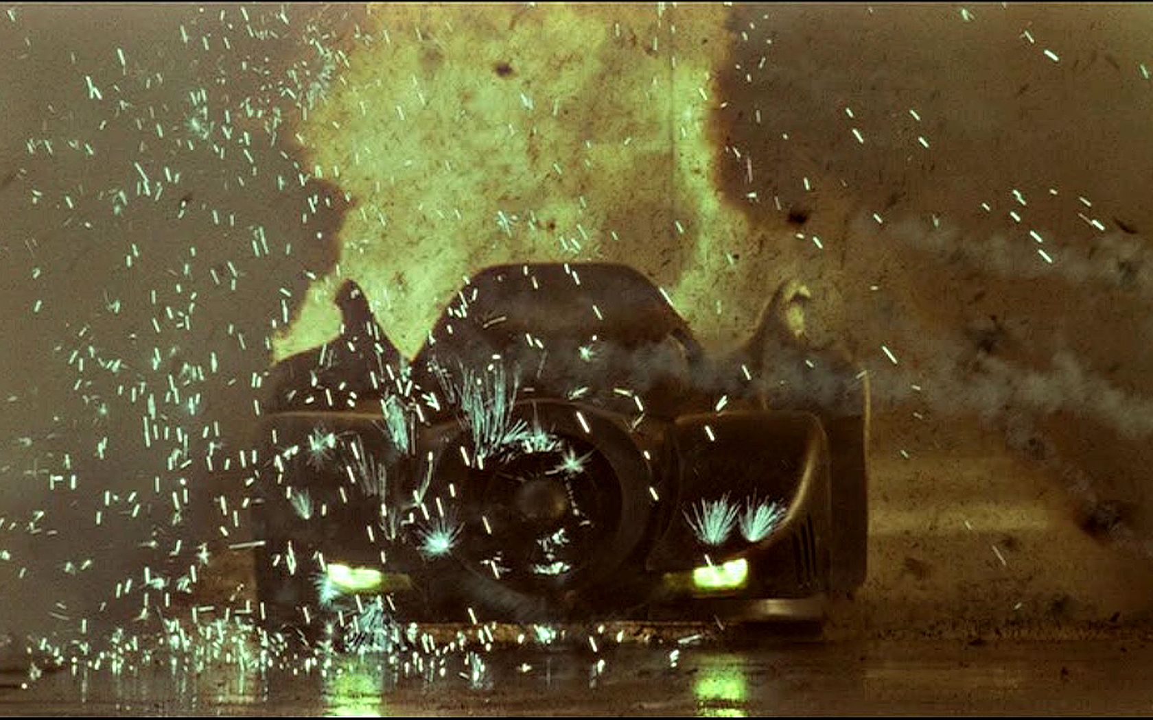 Batmobile Thru Flames Wallpaper 1680x1050