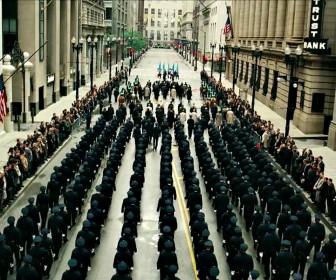 Gotham Cops Parade In Streets Wallpaper