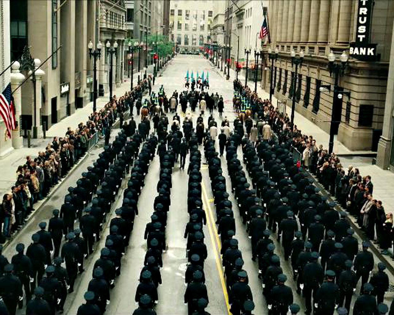 Gotham Cops Parade In Streets Wallpaper 1280x1024