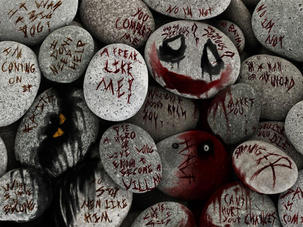 Joker Quotes On Rocks Wallpaper 1024x768