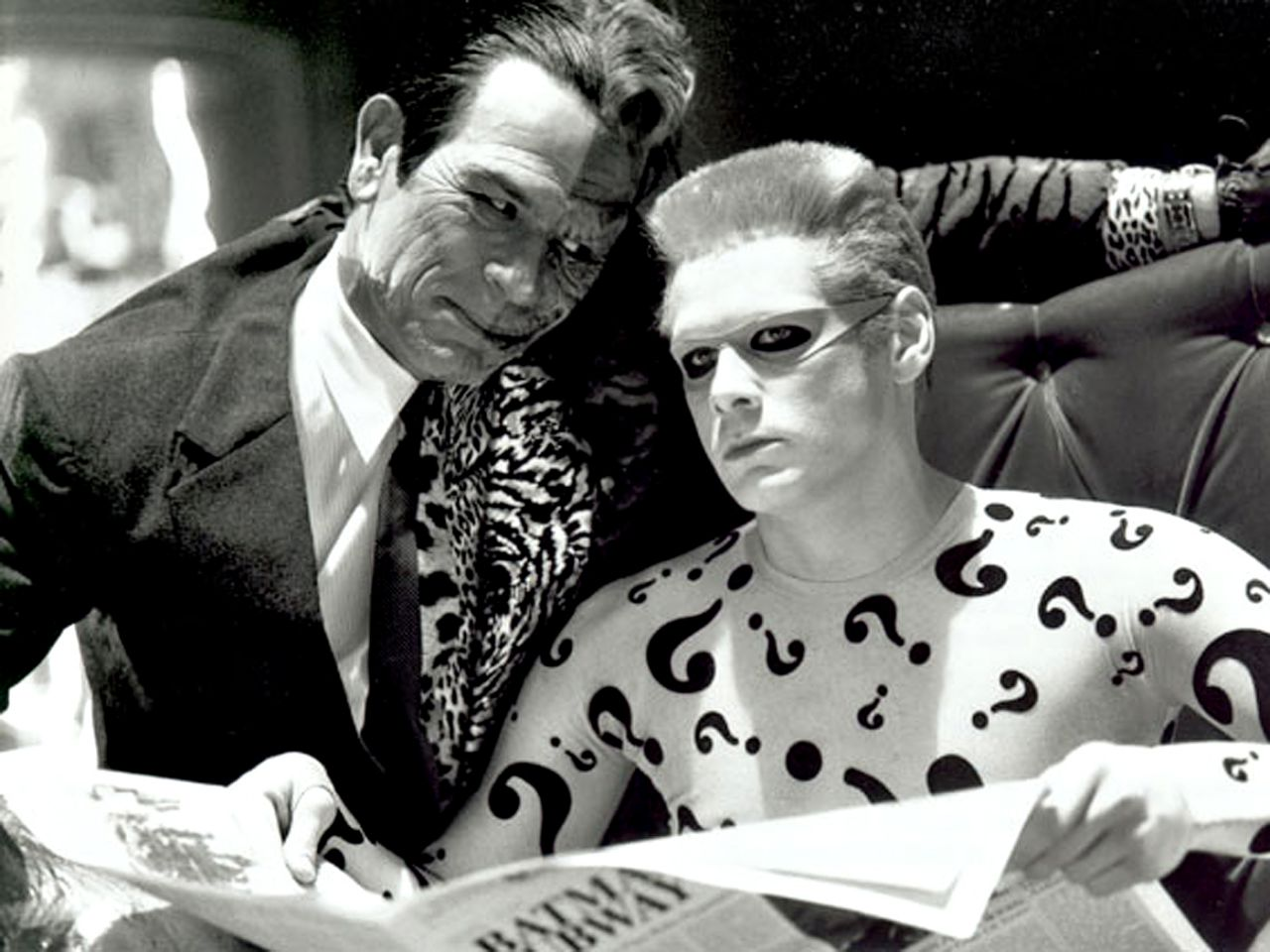 Two Face And Riddler Monochrome Wallpaper 1280x960